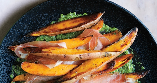 roasted-sweet-potatoes-with-speck-and-chimichurri